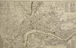 A new and correct plan of the cities of London, Westminster and borough of Southwark wherein all the streets, roads, churches, public buildings &c. to the present year 1775 are exactly delineated
